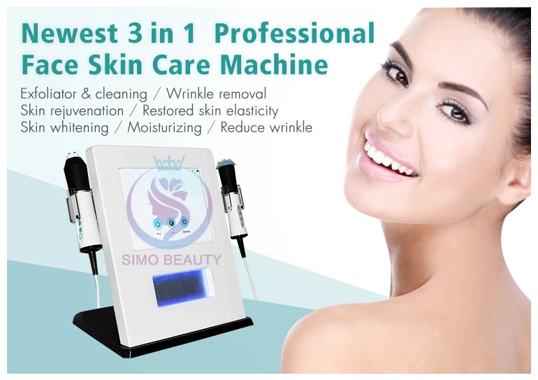 Anti aging facial massage rejuvenation CO2 bubble 3 in 1 oxygen RF ultrasound infusion machine