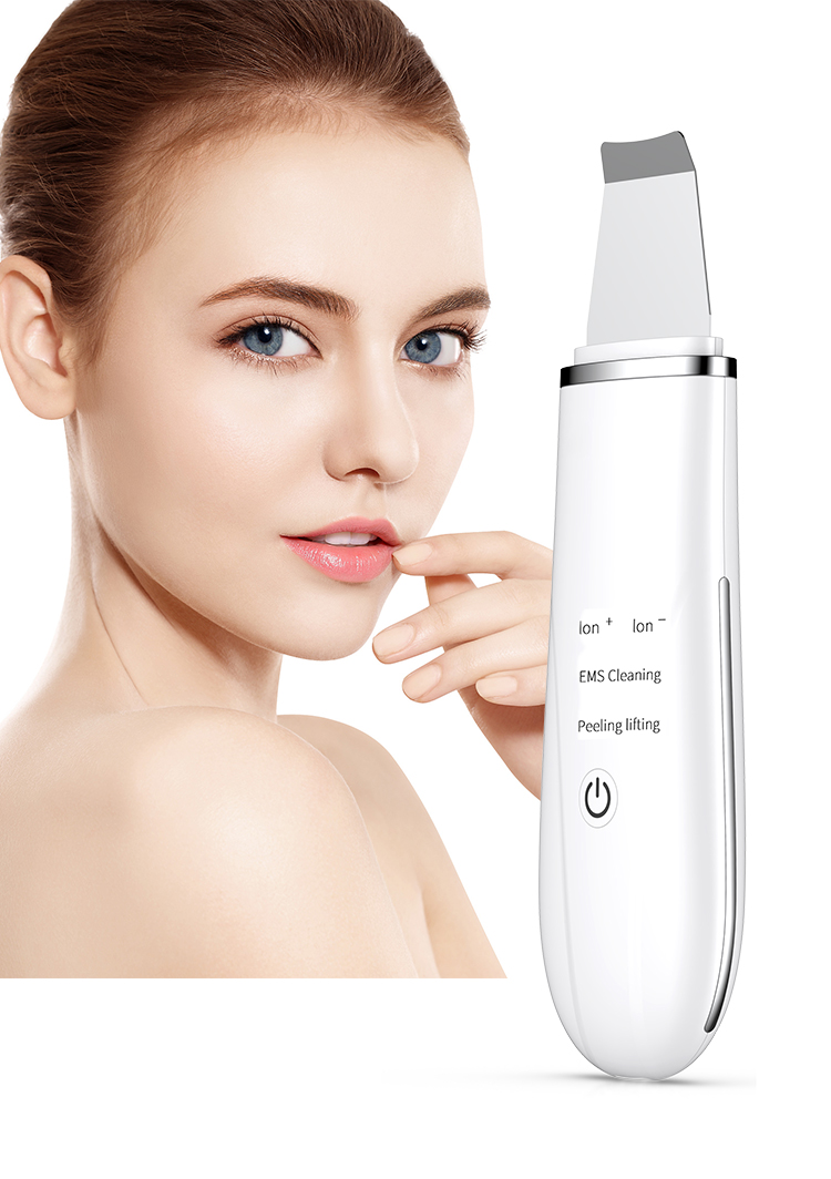 Skin Lifting Deep Pore Cleaning Facial Ultrasonic Peeling Scrubber Spatula Beauty Machine