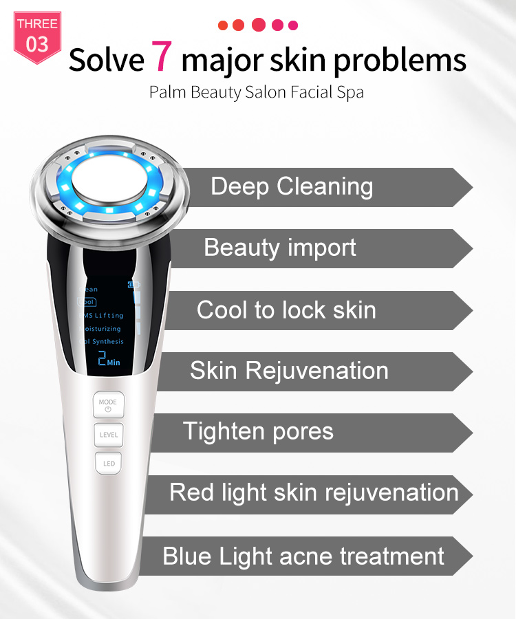 Portable Facial Multifunctional Ems Galvanic Machine Led Handheld Photon Light Therapy Hot Cold Face Lifting Massager